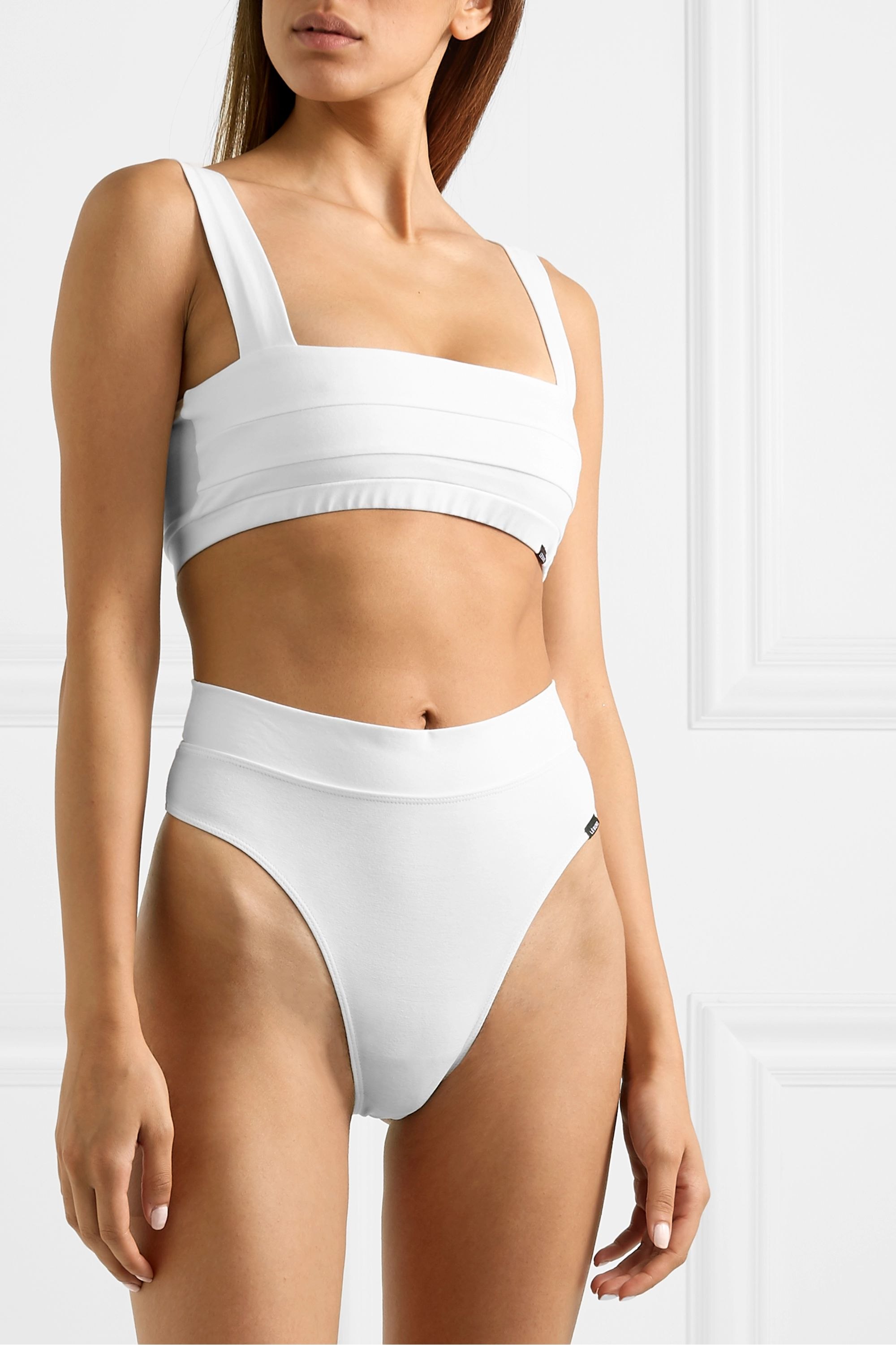 LÉ BUNS Gia set of two pleated stretch-organic cotton soft-cup bras