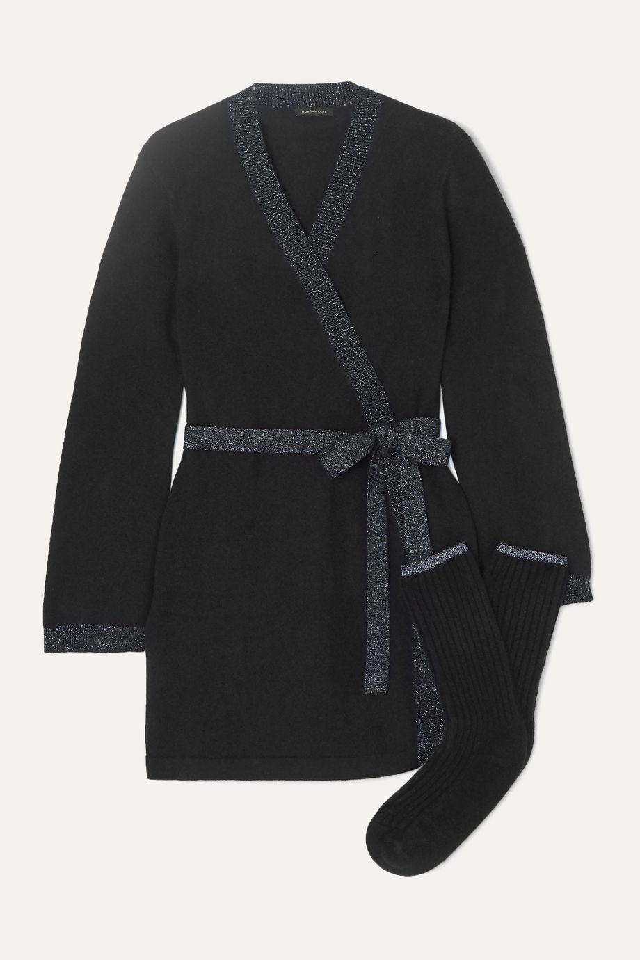Morgan Lane Bella Lurex-trimmed cashmere robe and socks set