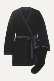 Bella Lurex-trimmed cashmere robe and socks set