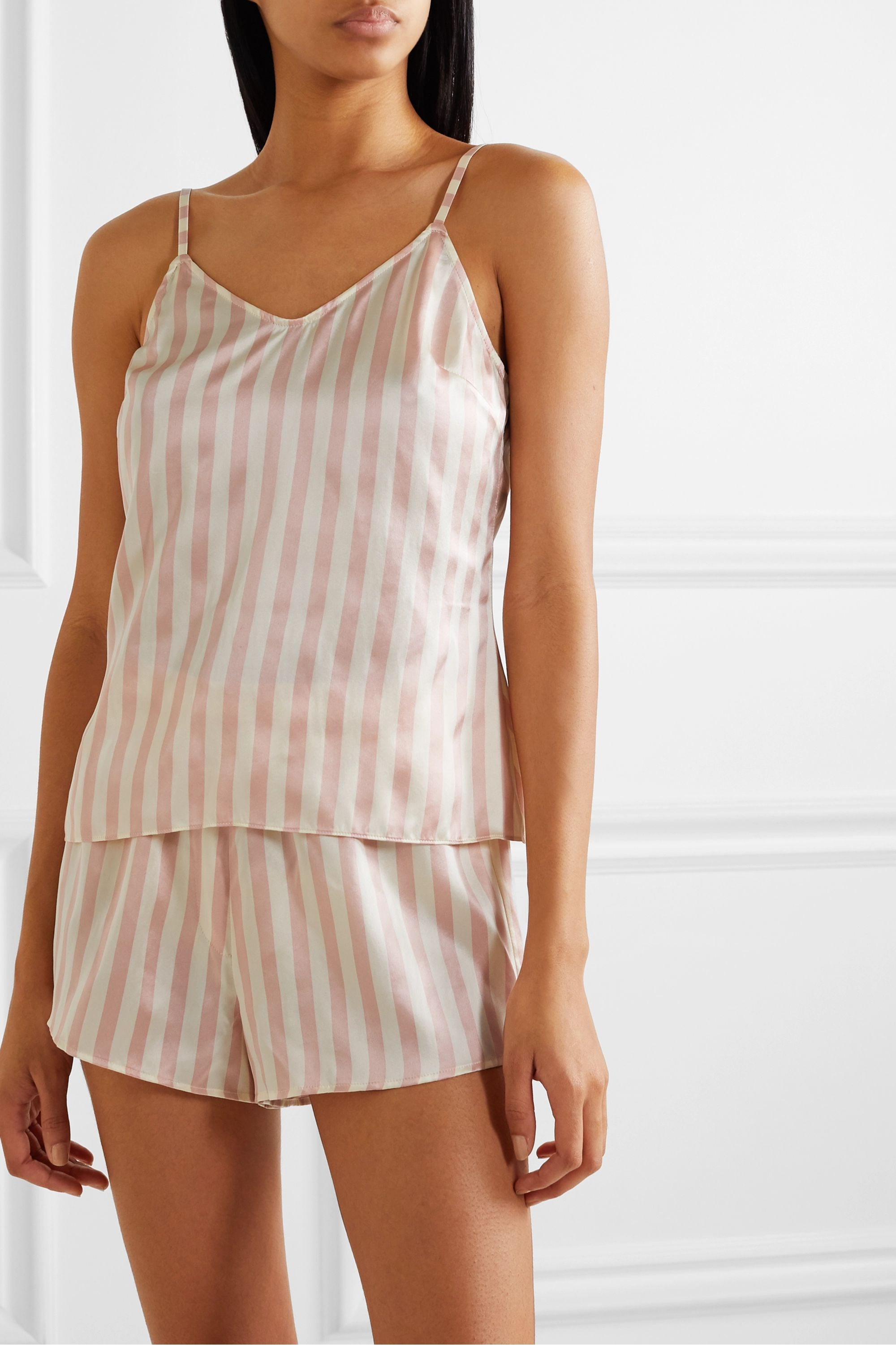 Morgan Lane MacKenzie striped silk-satin pajama and eye mask set