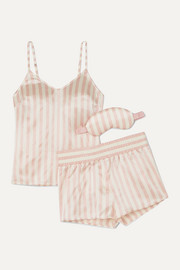 MacKenzie striped silk-satin pajama and eye mask set