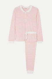 Morgan Lane Kaia embroidered striped stretch-cotton jersey pajama set