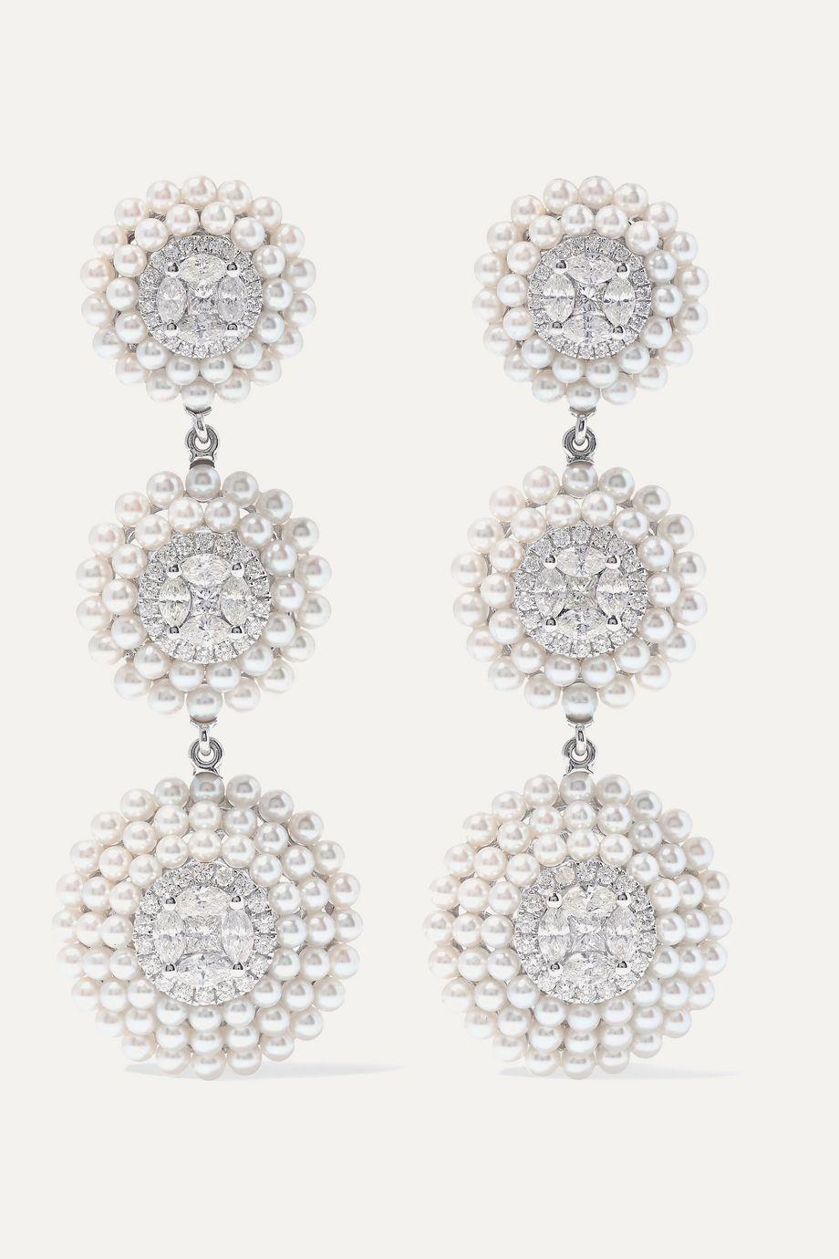 Amrapali Ohrringe aus 18 Karat Weißgold mit Perlen und Diamanten