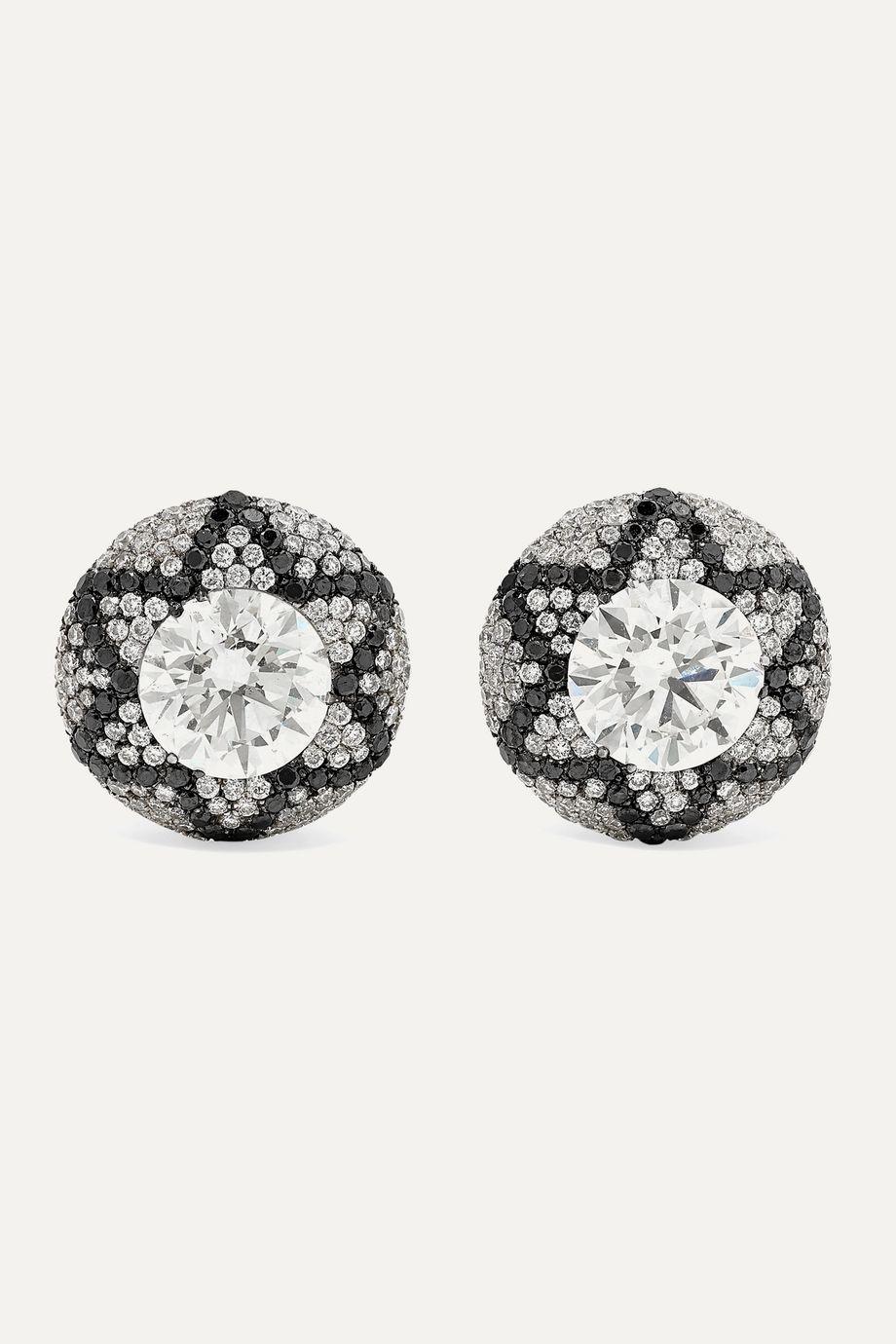 Martin Katz Boucles d'oreilles en or blanc 18 carats et diamants Starburst