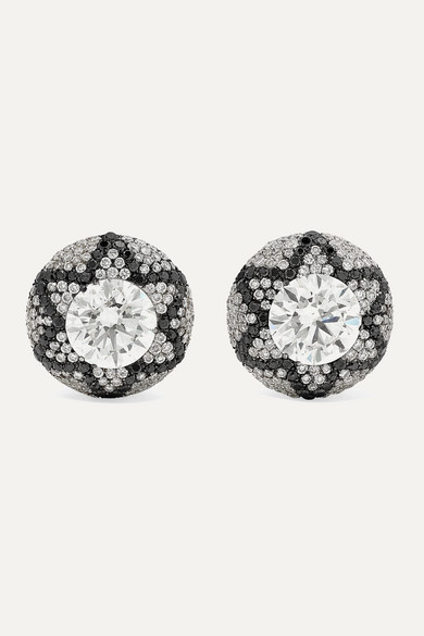 Starburst 18 Karat White Gold Diamond Earrings