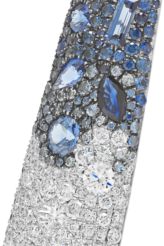 Martin Katz 18-karat white gold, diamond and sapphire earrings