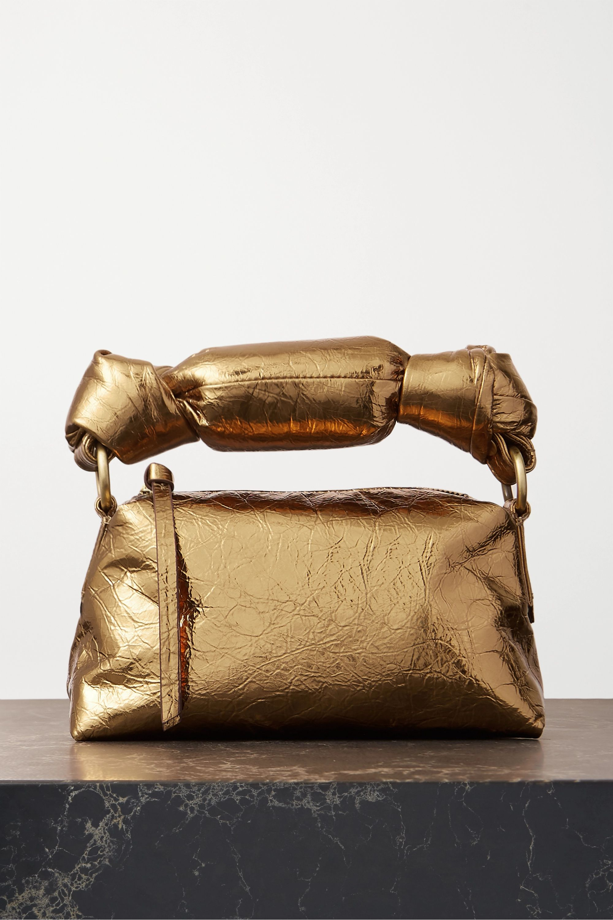 Dries Van Noten Mini padded metallic crinkled-leather tote