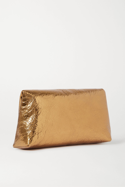 Dries Van Noten Metallic crinkled-leather clutch