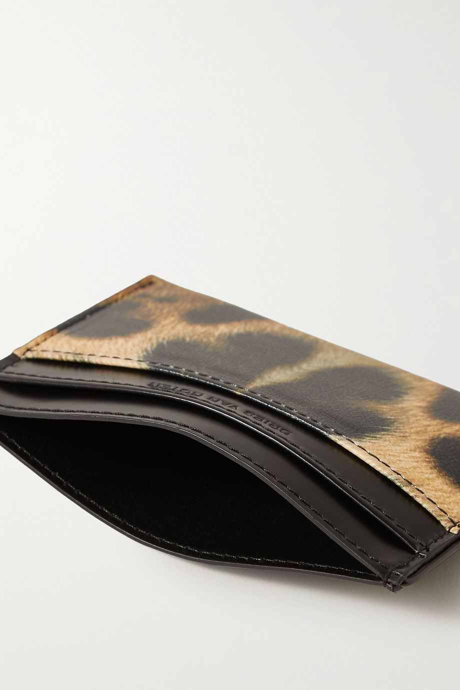 Dries Van Noten + Christian Lacroix leopard-print smooth and textured-leather cardholder