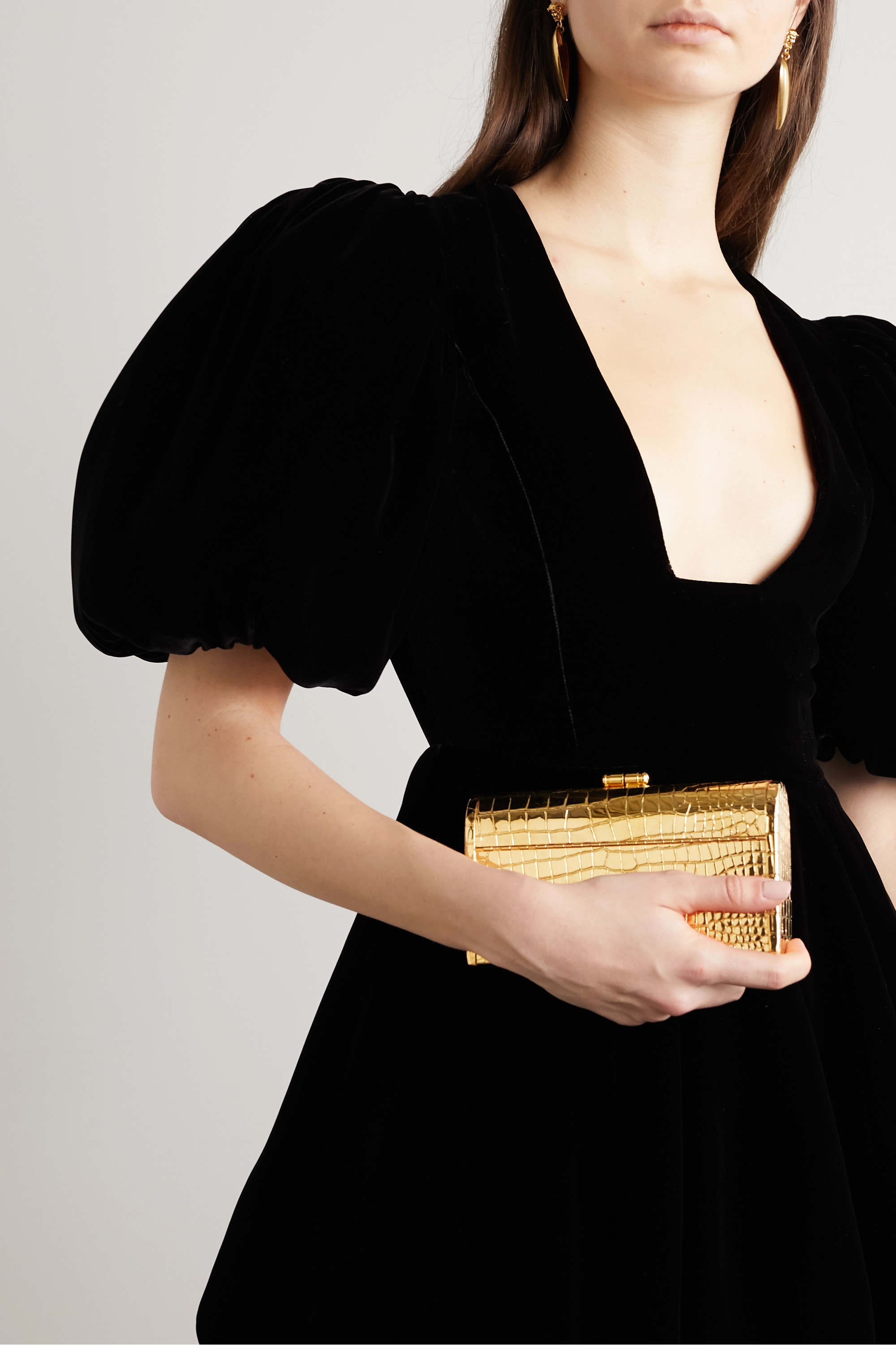 Bienen-Davis Régine textured patent-leather and gold-dipped tote