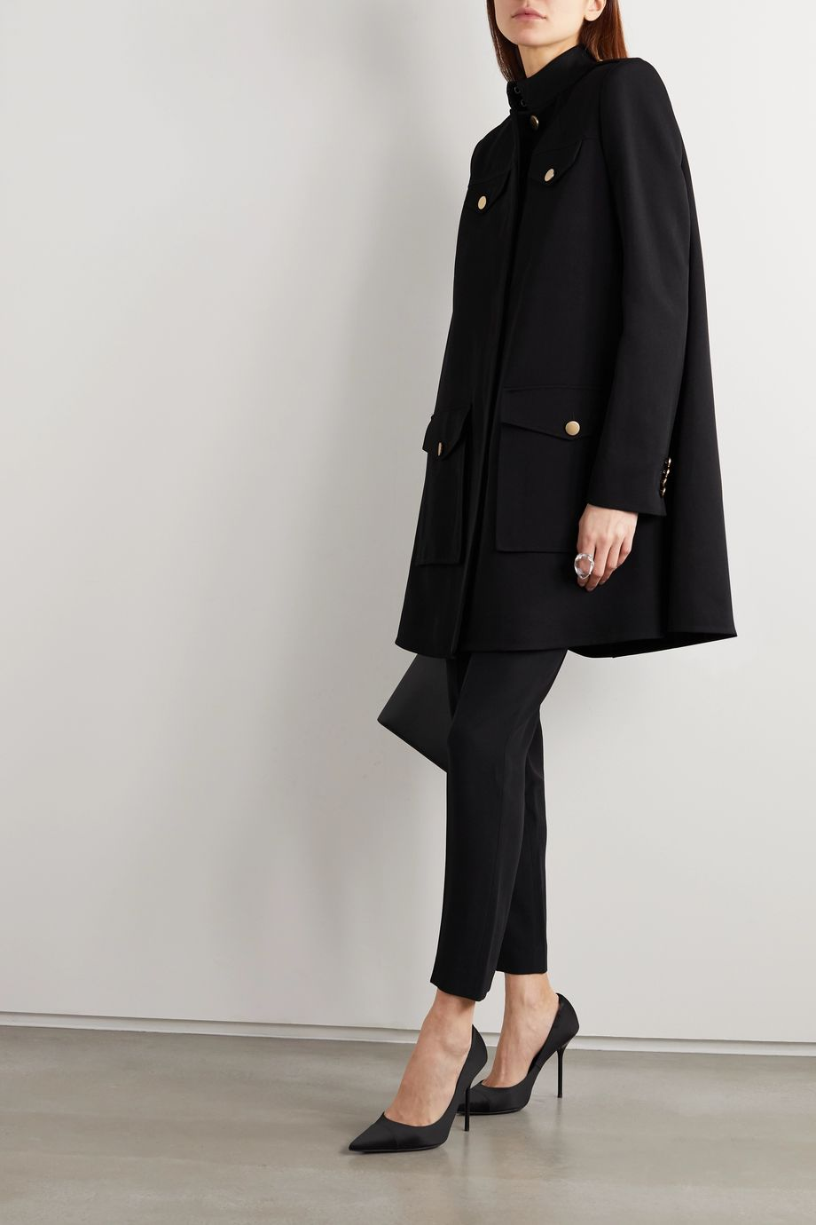 Alexander McQueen Oversized wool and silk-blend twill cape