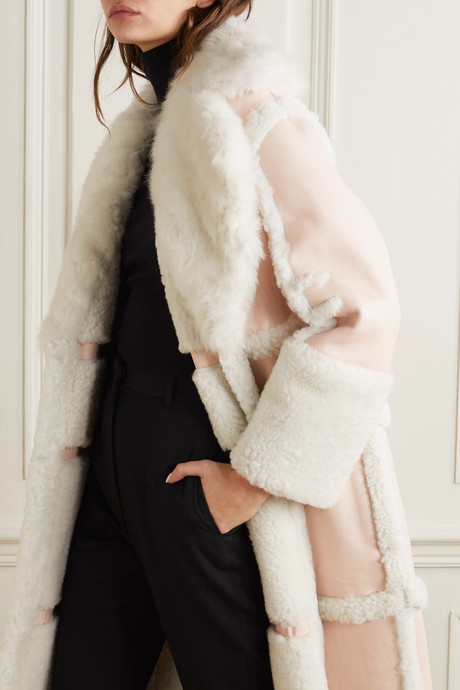 Paneled shearling coat
