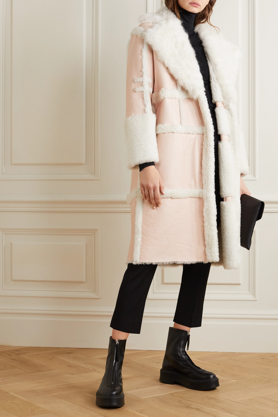 Alexander McQueen Paneled shearling coat