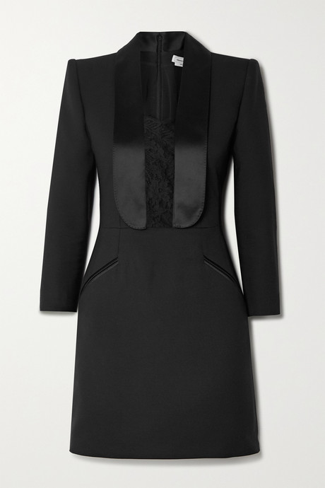 Black Satin and lace-trimmed wool-blend cady mini dress | Alexander McQueen tbkm11