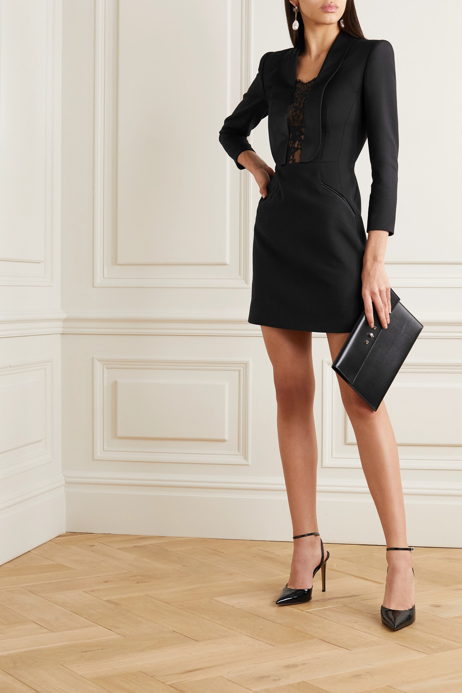 Alexander McQueen Satin and lace-trimmed wool-blend cady mini dress