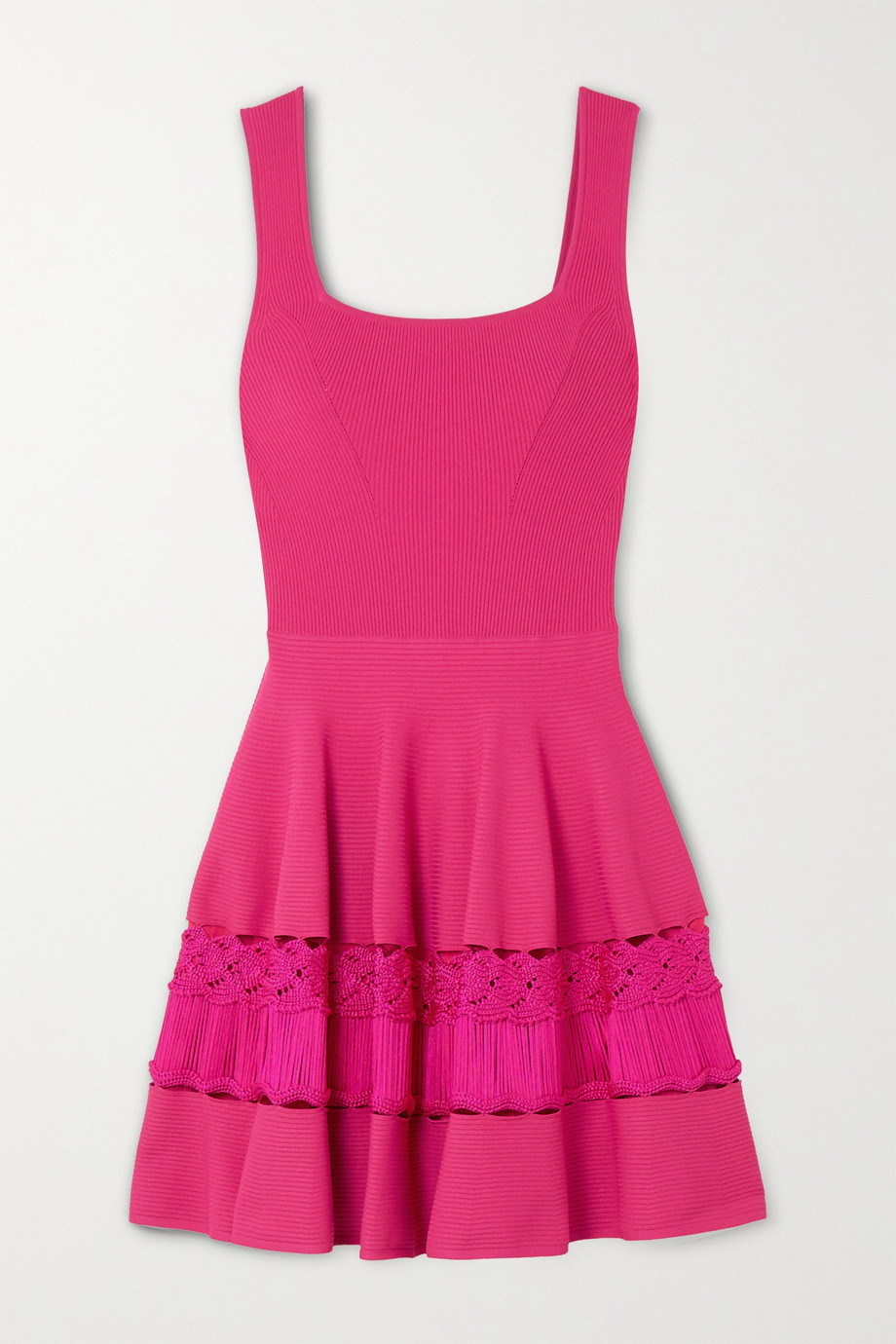 Alexander McQueen Crochet-trimmed stretch-knit mini dress