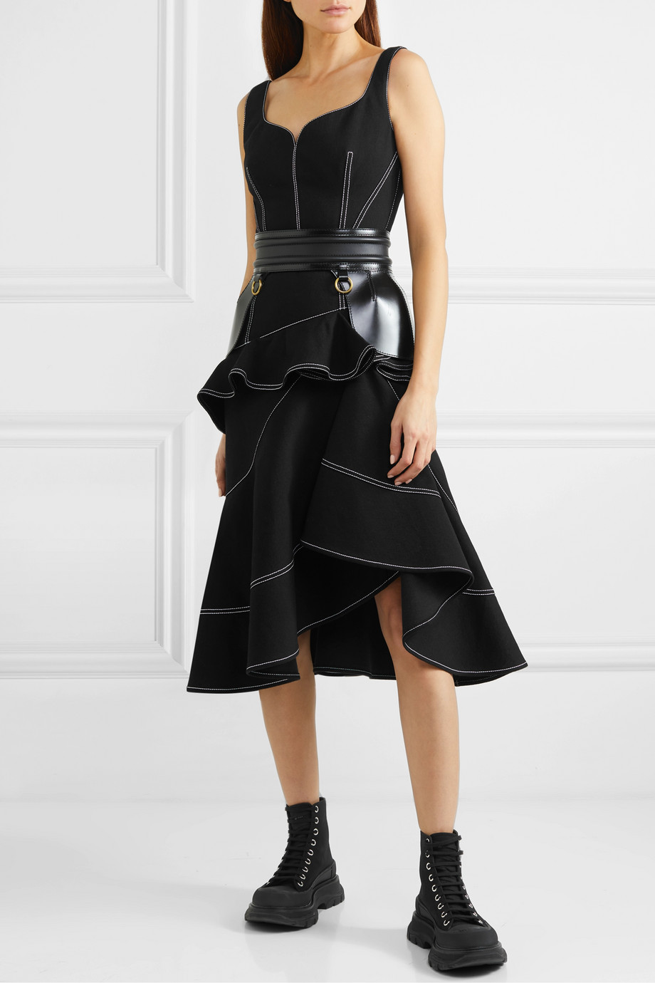 Alexander McQueen Asymmetric ruffled denim dress