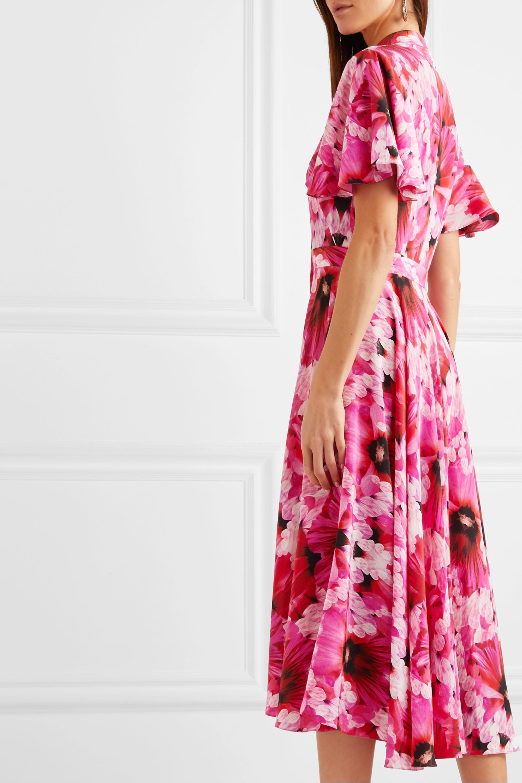 Alexander McQueen Robe midi en georgette de soie à imprimé fleuri