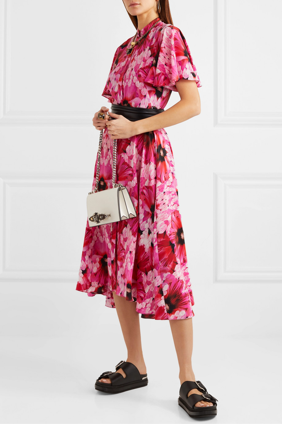 Alexander McQueen Floral-print silk-georgette midi dress