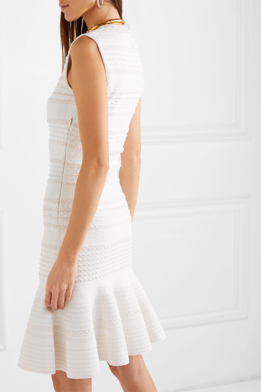 Alexander McQueen Mini-robe en mailles torsadées de laine mélangée à volants