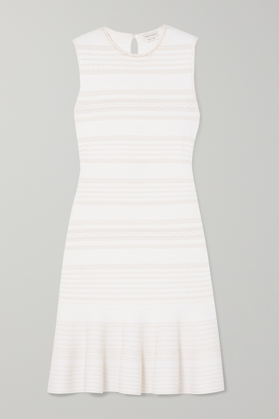 Alexander McQueen Ruffled cable-knit wool-blend mini dress