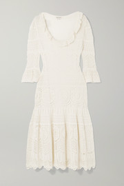Alexander McQueen Ruffled crocheted cotton-blend midi dress