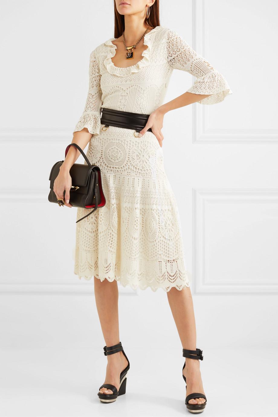 Alexander McQueen Ruffled crocheted cotton-blend midi dress