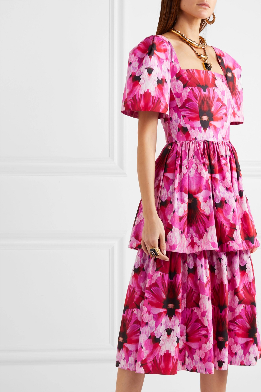 Alexander McQueen Tiered printed cotton-poplin midi dress