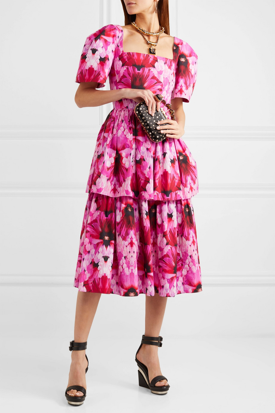Alexander McQueen Tiered printed cotton-poplin midi dress