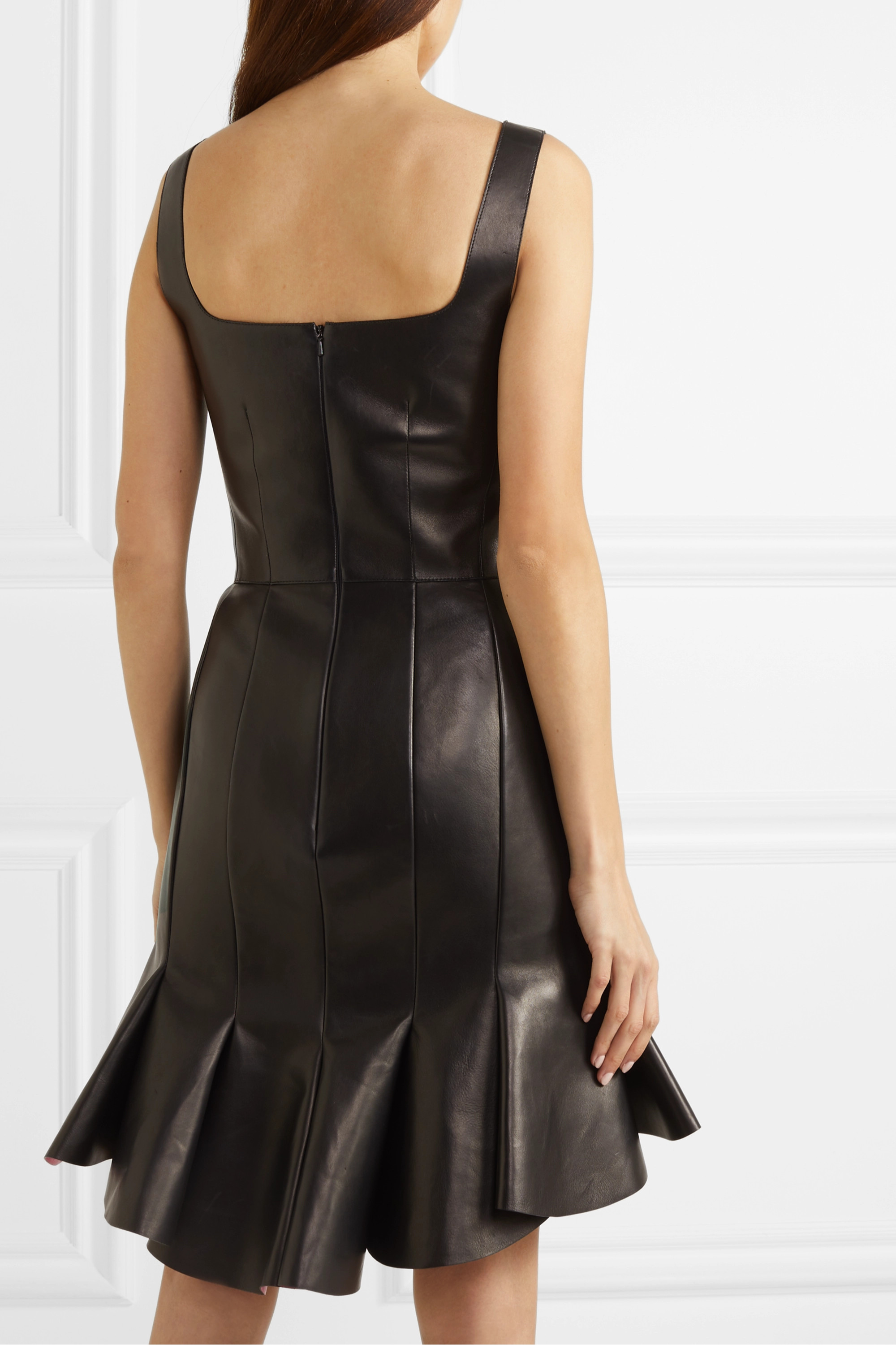 Alexander McQueen Two-tone ruffled leather and silk mini dress