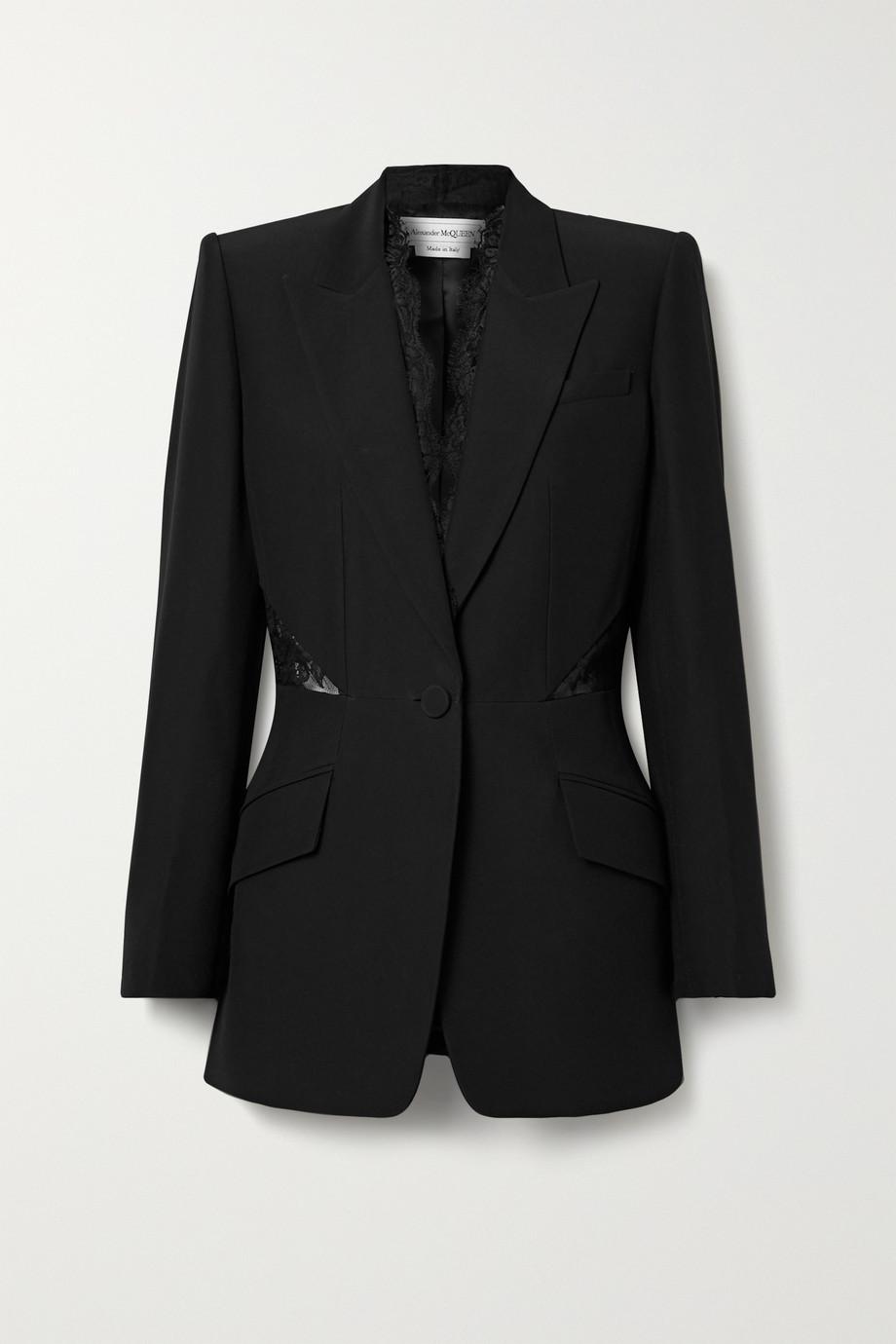 Alexander McQueen Lace-paneled crepe blazer