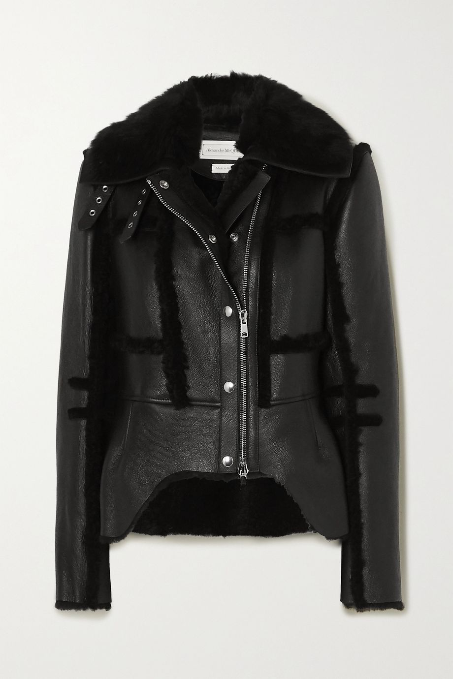 Alexander McQueen Shearling-trimmed leather biker jacket