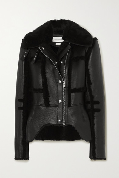 Shearling Trimmed Leather Biker Jacket by Alexander Mc Queen