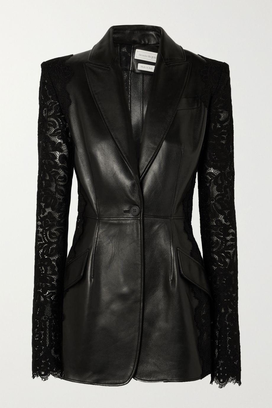 Alexander McQueen Lace-paneled leather blazer