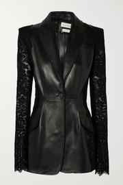Alexander McQueen Lace-paneled leather blazer