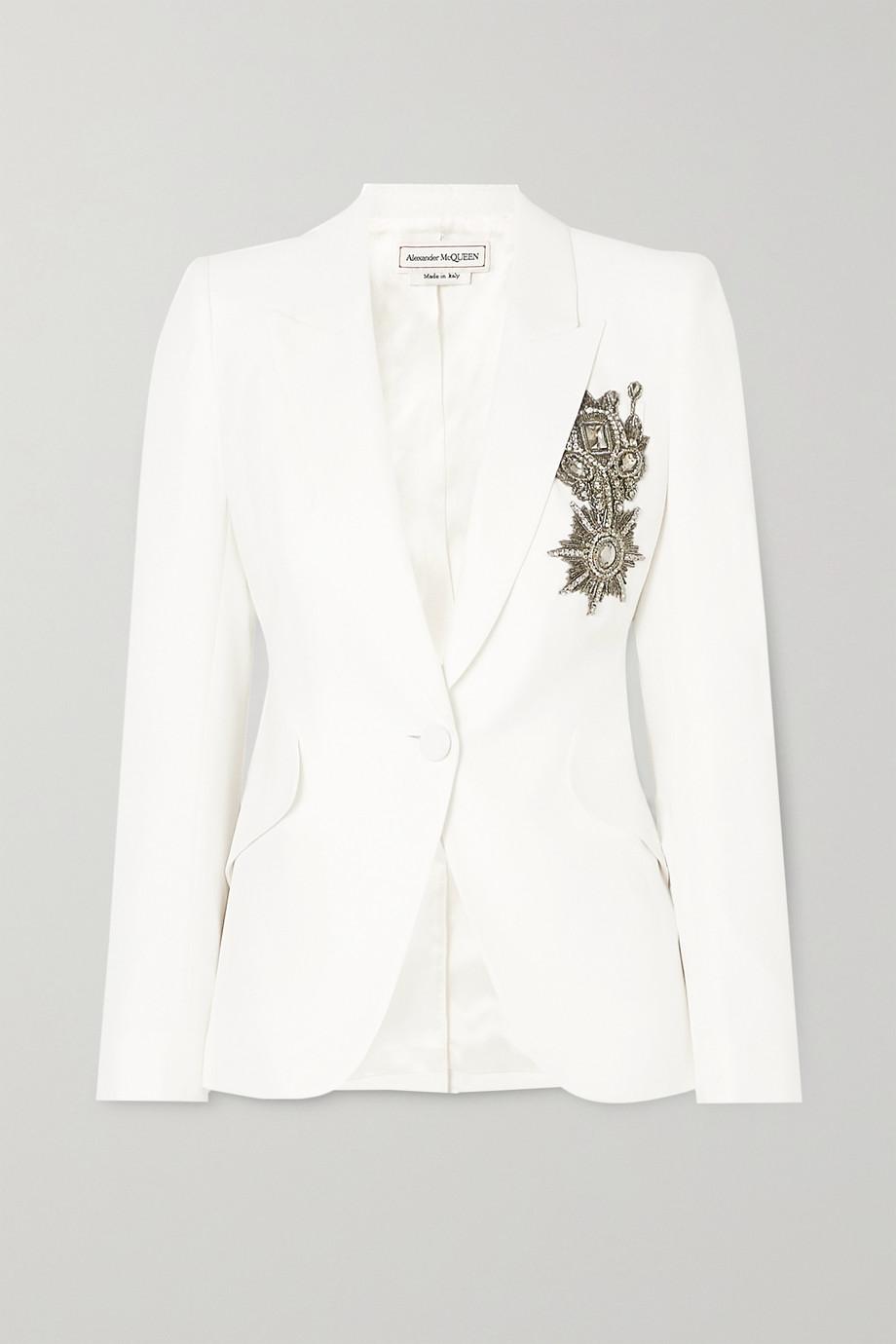 Alexander McQueen Embellished crepe blazer