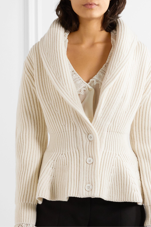 Alexander McQueen Ribbed wool and cashmere-blend peplum cardigan