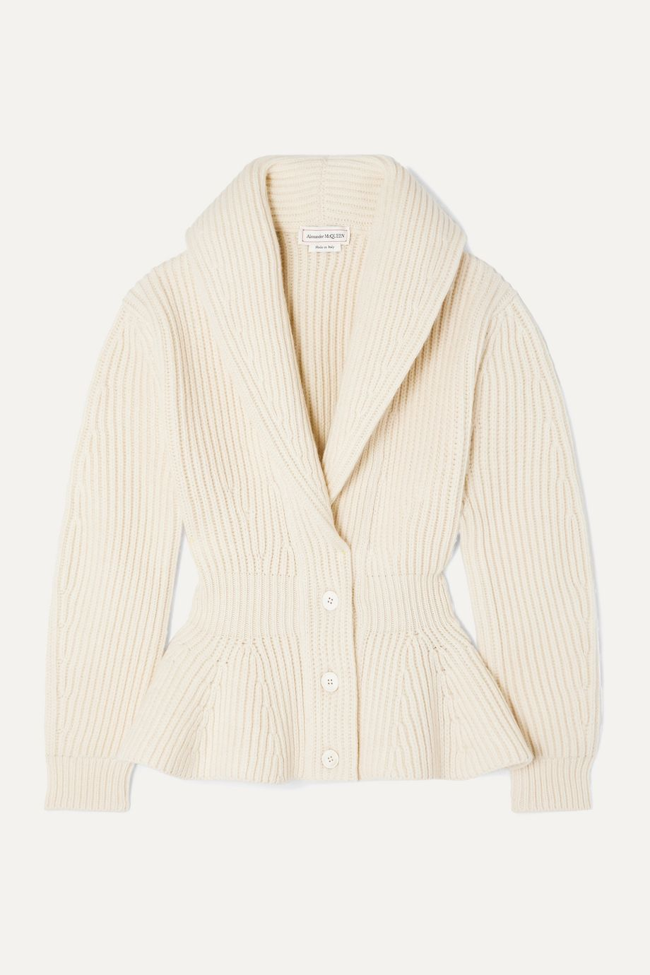 Alexander McQueen Ribbed wool and cashmere-blend peplum cardigan