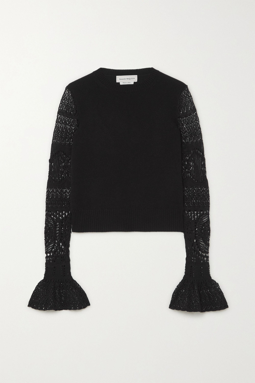 Alexander McQueen Ruffled crochet-knit and wool sweater