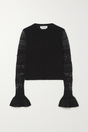 Alexander McQueen Ruffled crochet-knit and wool sweater