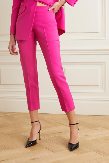 Cropped wool-blend slim-leg pants