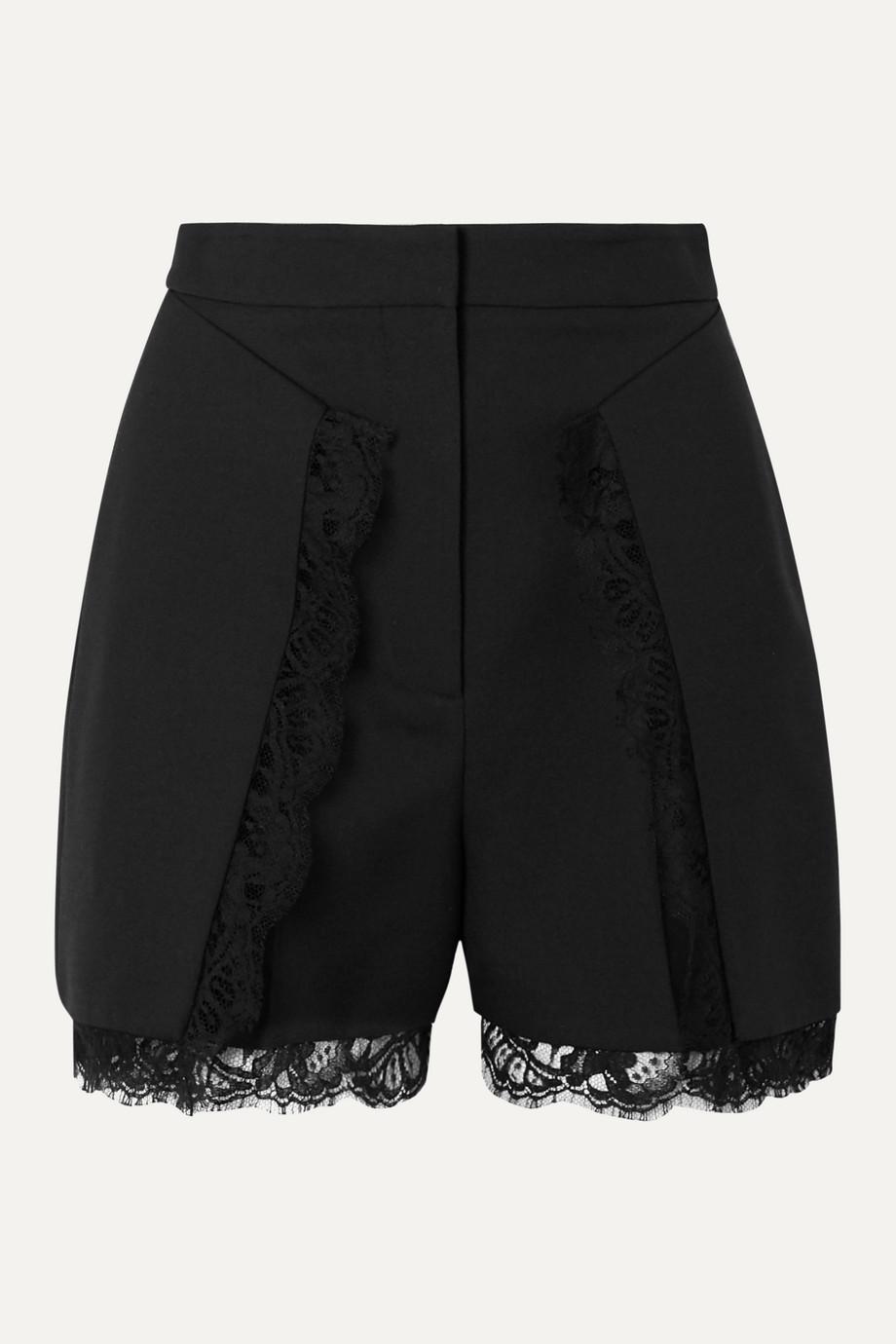 Alexander McQueen Shorts aus einer Wollmischung mit Spitzenbesatz