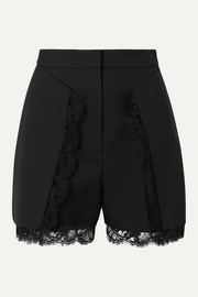 Lace-trimmed wool-blend shorts