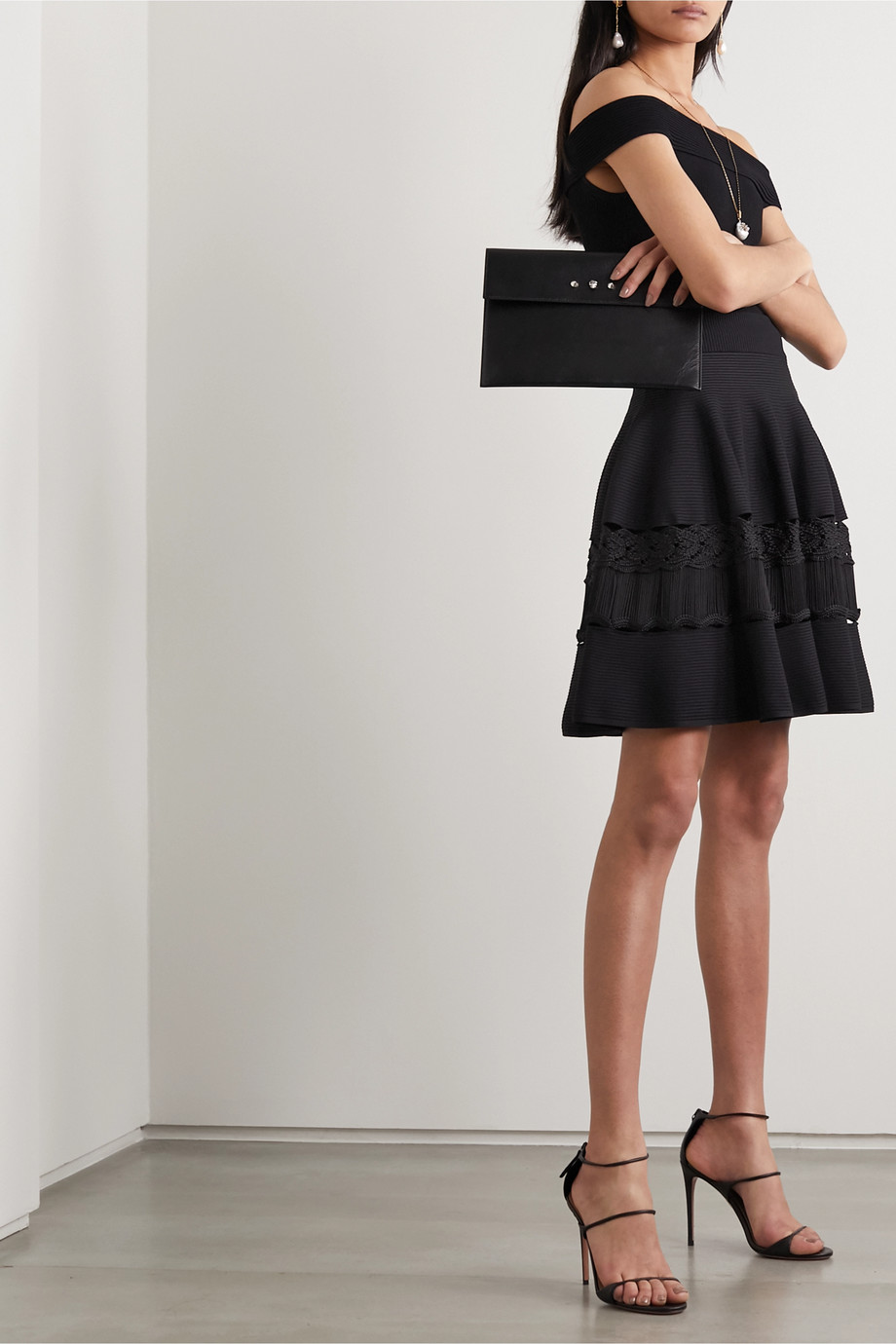 Alexander McQueen Crochet-paneled ribbed stretch-knit mini skirt