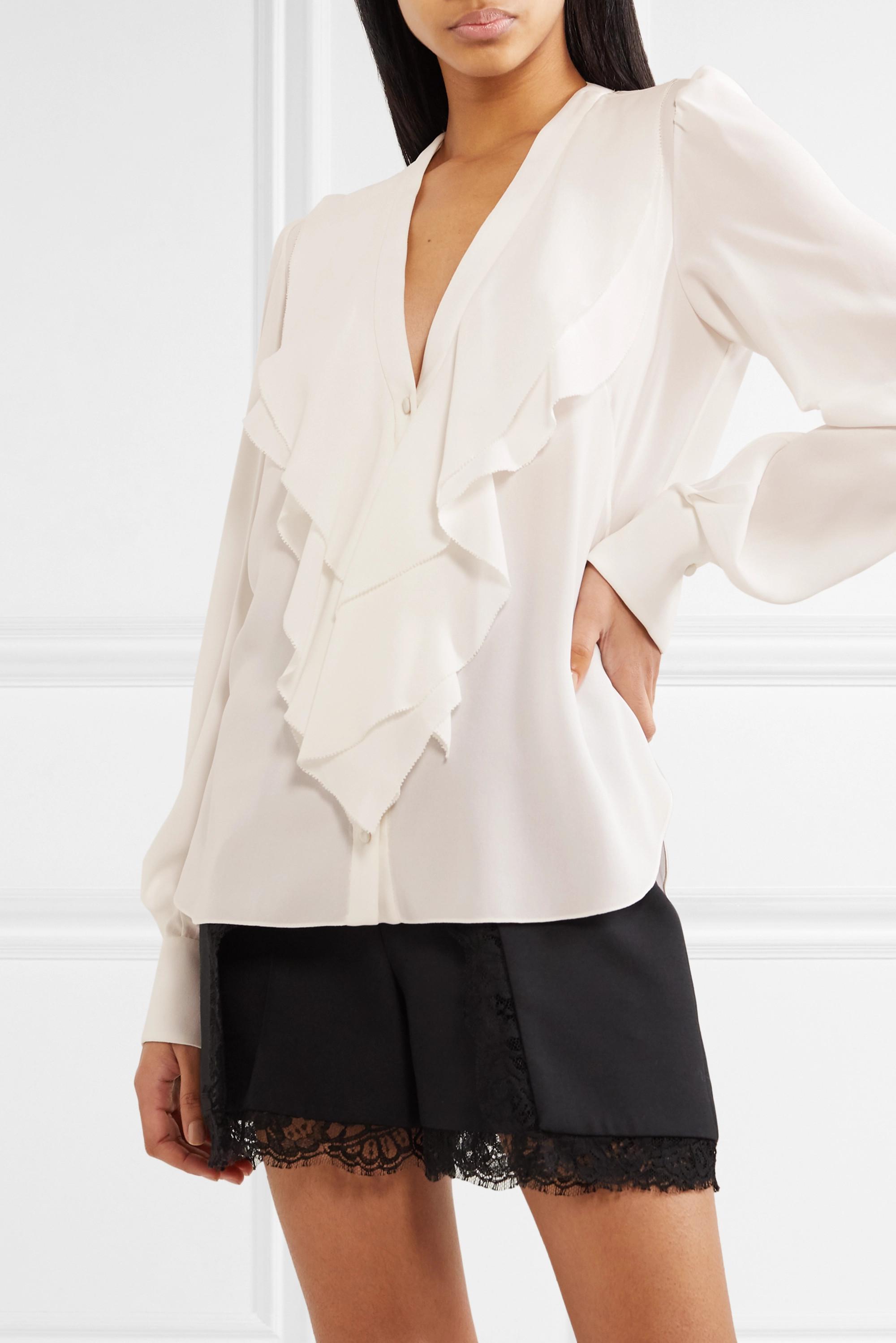 Alexander McQueen Ruffled silk-crepe blouse