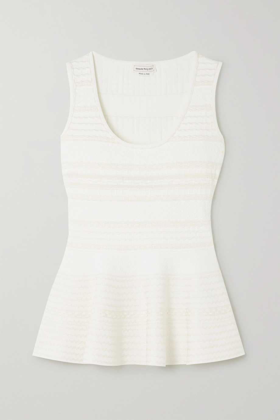 Alexander McQueen Crochet-paneled stretch-knit peplum top