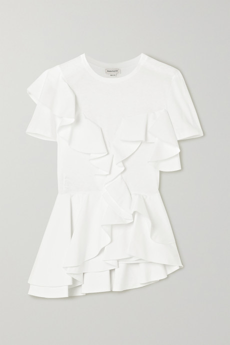White Ruffled cotton-jersey and poplin T-shirt | Alexander McQueen kVT8mT