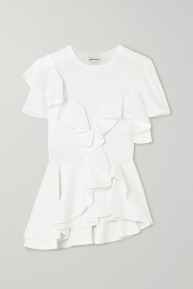 Alexander Mcqueen Ruffled Cotton-jersey And Poplin T-shirt In White
