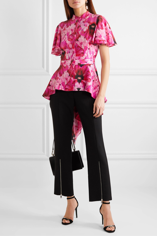 Alexander McQueen Floral-print silk crepe de chine peplum blouse