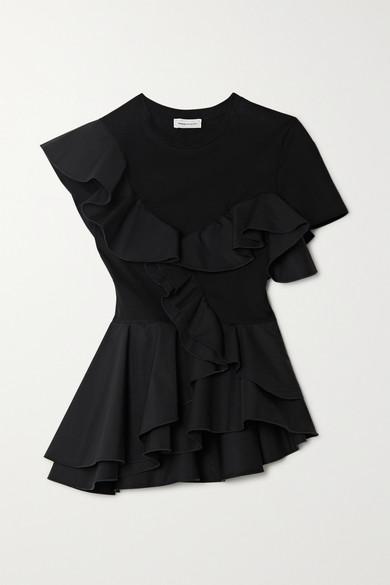 ruffled-sateen-and-cotton-jersey-peplum-t-shirt by alexander-mcqueen